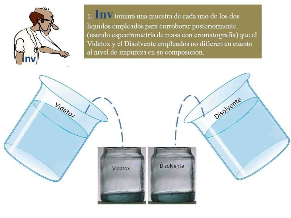 1. Inv tomará una muestra de cada uno de los dos líquidos empleados para corroborar posteriormente (usando espectrometría de masa con cromatografía) que el Vidatox y el Disolvente empleados no difieren en cuanto al nivel de impureza en su composición.