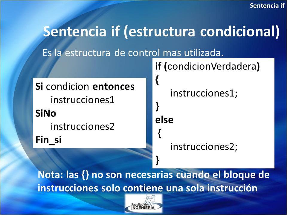 Sentencia if (estructura condicional)