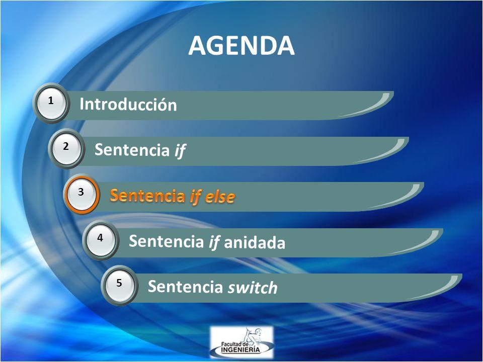 AGENDA Introducción Sentencia if Sentencia if else Sentencia if else