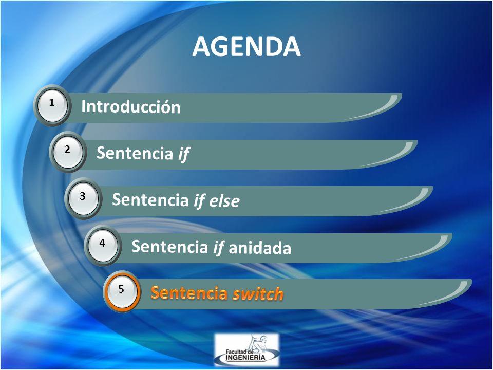 AGENDA Introducción Sentencia if Sentencia if else