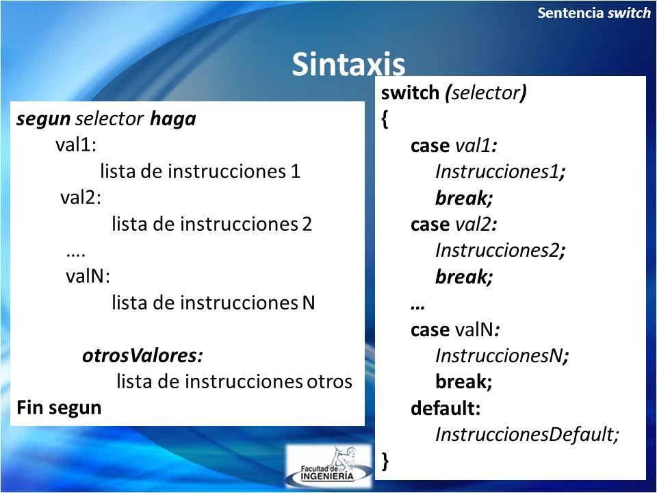 Sintaxis switch (selector) { segun selector haga case val1: val1: