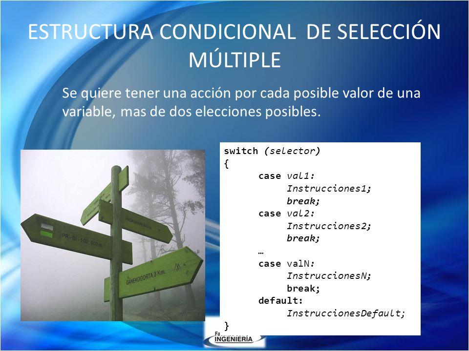 ESTRUCTURA CONDICIONAL DE SELECCIÓN MÚLTIPLE