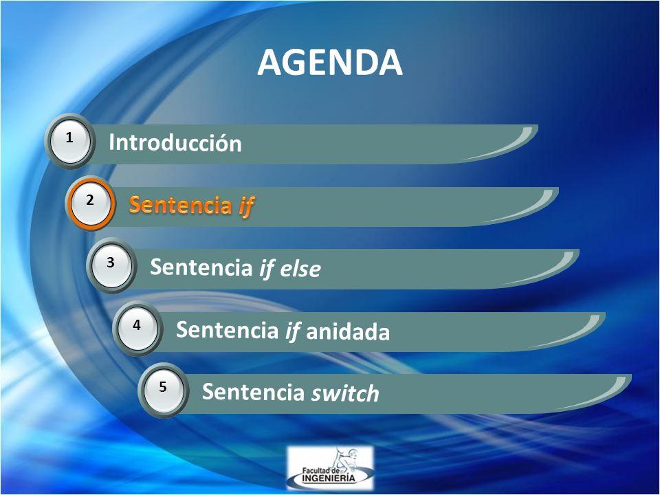 AGENDA Introducción Sentencia if Sentencia if Sentencia if else