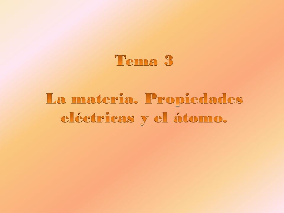 Tema 3 La materia. Propiedades eléctricas y el átomo.