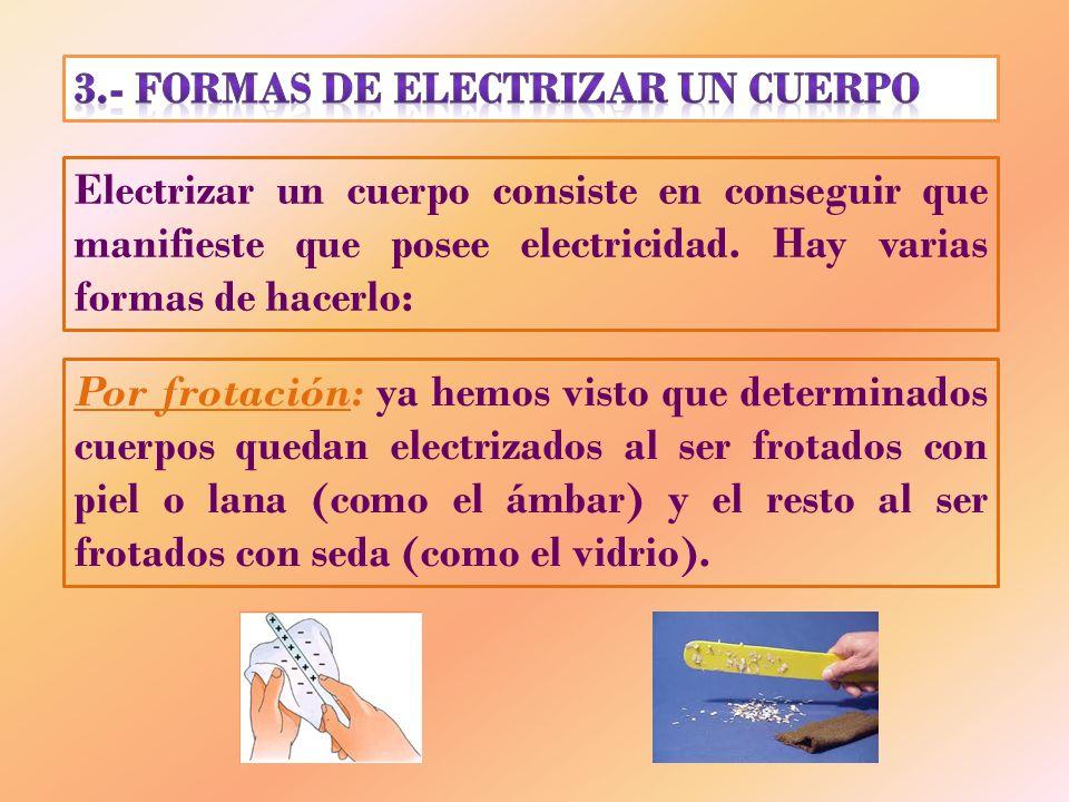 3.- FORMAS DE ELECTRIZAR UN CUERPO