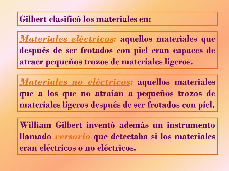 Gilbert clasificó los materiales en: