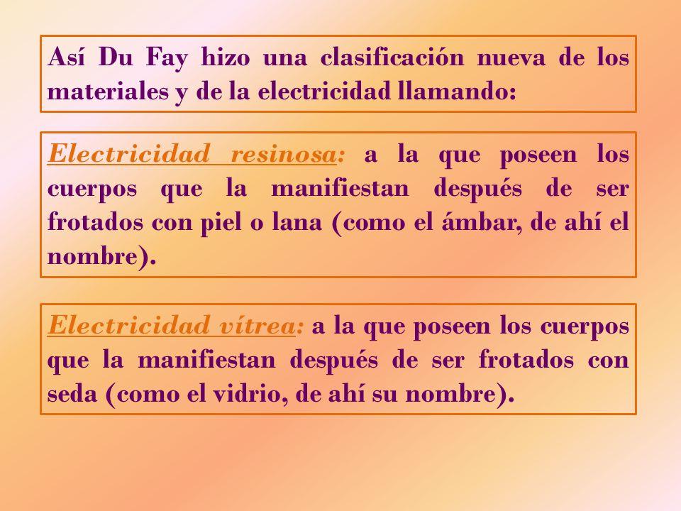 Así Du Fay hizo una clasificación nueva de los materiales y de la electricidad llamando: