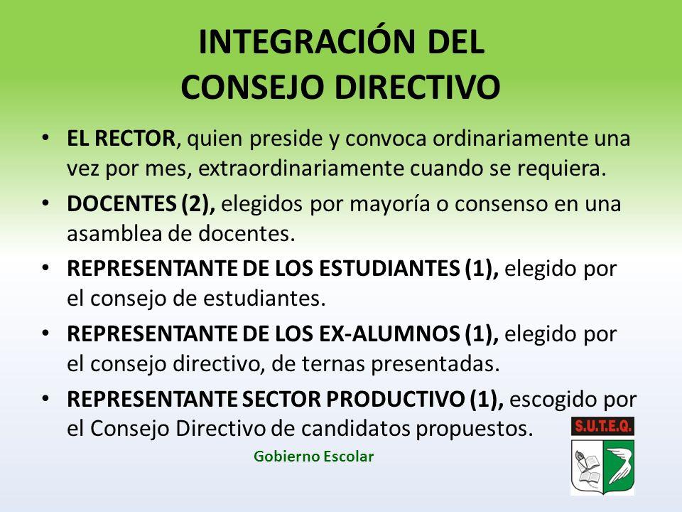 INTEGRACIÓN DEL CONSEJO DIRECTIVO