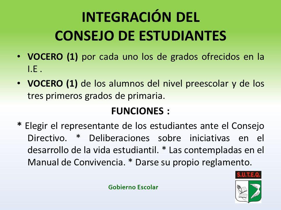 INTEGRACIÓN DEL CONSEJO DE ESTUDIANTES