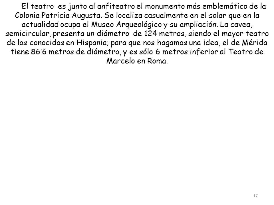 El teatro es junto al anfiteatro el monumento más emblemático de la Colonia Patricia Augusta.