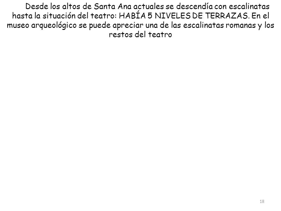 Desde los altos de Santa Ana actuales se descendía con escalinatas hasta la situación del teatro: HABÍA 5 NIVELES DE TERRAZAS.