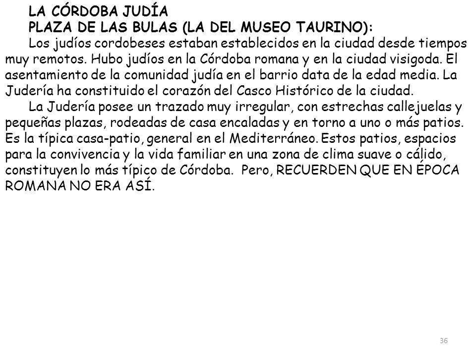 LA CÓRDOBA JUDÍA PLAZA DE LAS BULAS (LA DEL MUSEO TAURINO):