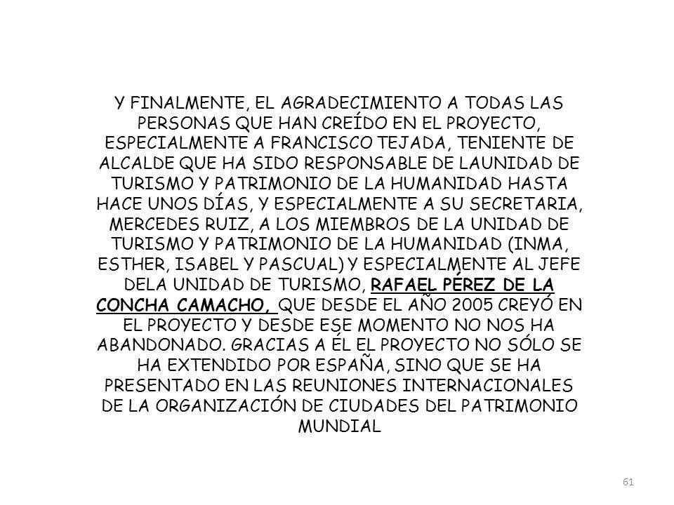 Y FINALMENTE, EL AGRADECIMIENTO A TODAS LAS PERSONAS QUE HAN CREÍDO EN EL PROYECTO, ESPECIALMENTE A FRANCISCO TEJADA, TENIENTE DE ALCALDE QUE HA SIDO RESPONSABLE DE LAUNIDAD DE TURISMO Y PATRIMONIO DE LA HUMANIDAD HASTA HACE UNOS DÍAS, Y ESPECIALMENTE A SU SECRETARIA, MERCEDES RUIZ, A LOS MIEMBROS DE LA UNIDAD DE TURISMO Y PATRIMONIO DE LA HUMANIDAD (INMA, ESTHER, ISABEL Y PASCUAL) Y ESPECIALMENTE AL JEFE DELA UNIDAD DE TURISMO, RAFAEL PÉREZ DE LA CONCHA CAMACHO, QUE DESDE EL AÑO 2005 CREYÓ EN EL PROYECTO Y DESDE ESE MOMENTO NO NOS HA ABANDONADO.