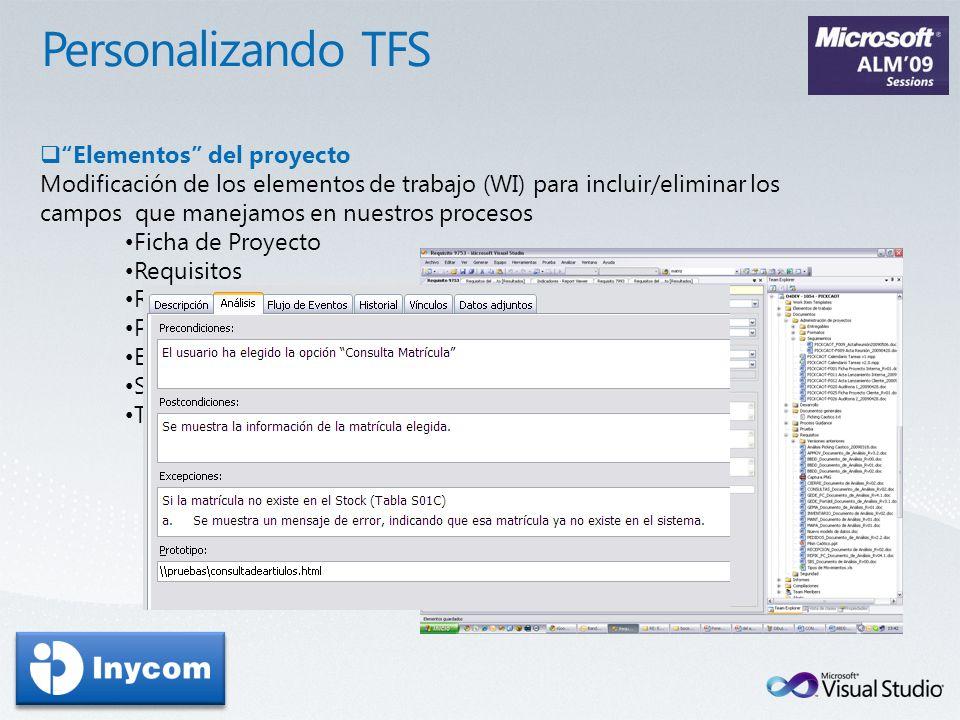 Personalizando TFS Elementos del proyecto