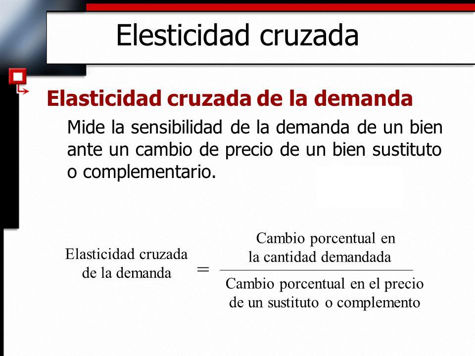 Elesticidad cruzada Elasticidad cruzada de la demanda =