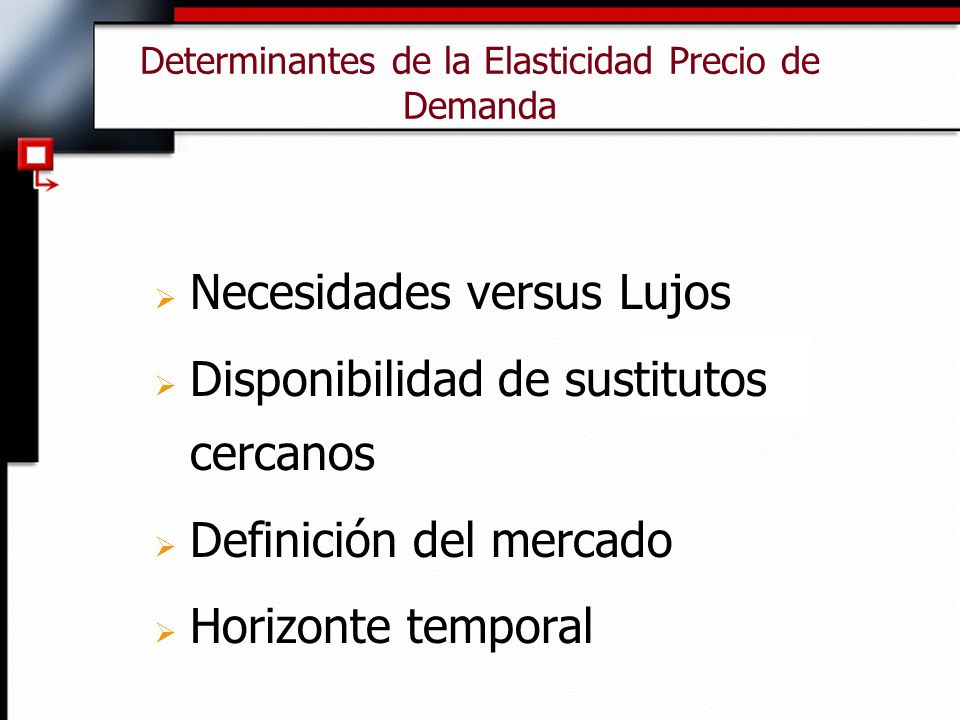 Determinantes de la Elasticidad Precio de Demanda