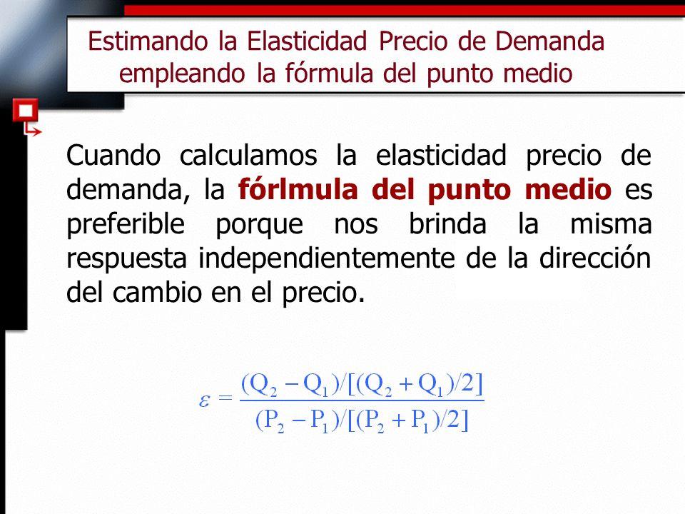 Estimando la Elasticidad Precio de Demanda empleando la fórmula del punto medio