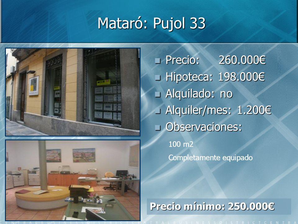 Mataró: Pujol 33 Precio: 260.000€ Hipoteca: 198.000€ Alquilado: no