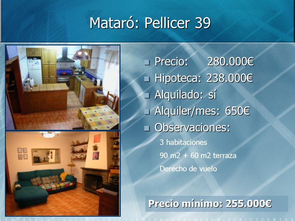 Mataró: Pellicer 39 Precio: 280.000€ Hipoteca: 238.000€ Alquilado: sí