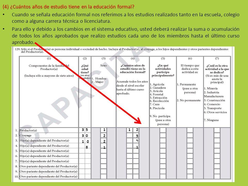 (4) ¿Cuántos años de estudio tiene en la educación formal