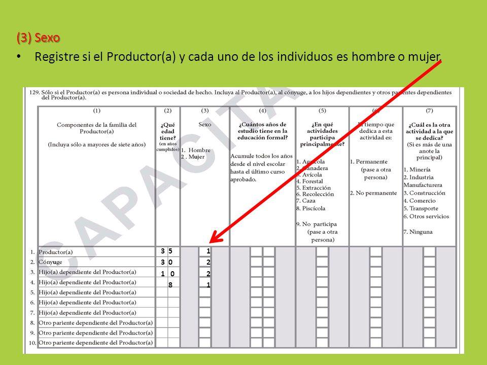 (3) Sexo Registre si el Productor(a) y cada uno de los individuos es hombre o mujer. 3 5. 1. 3 0.