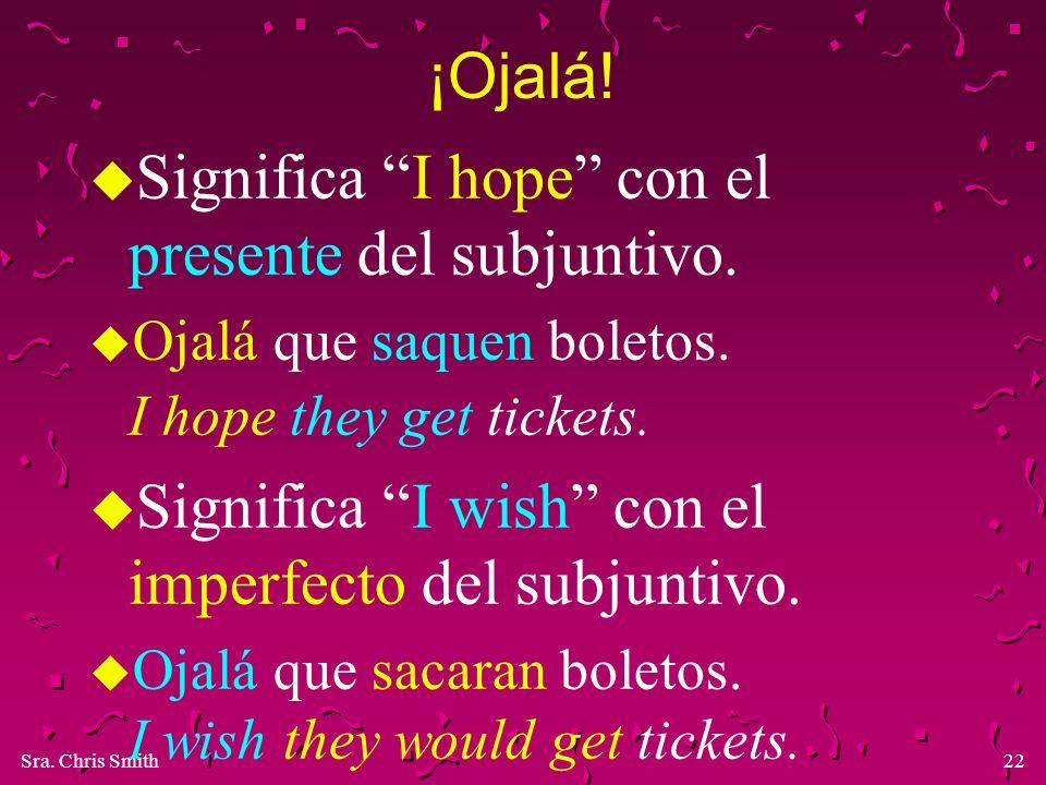 Significa I hope con el presente del subjuntivo.