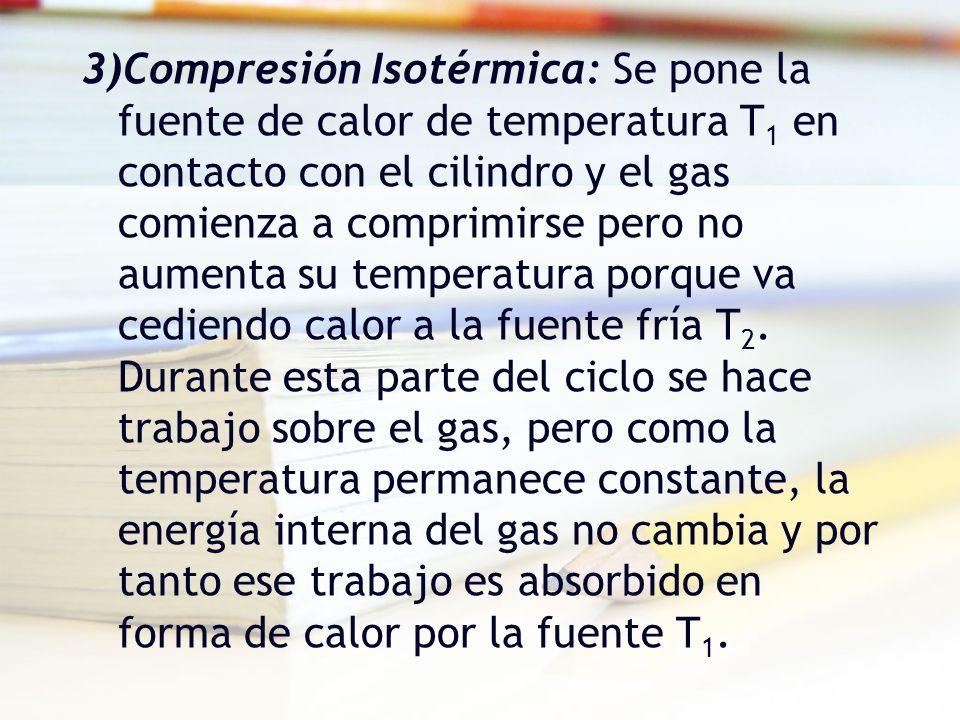 3)Compresión Isotérmica: Se pone la fuente de calor de temperatura T1 en contacto con el cilindro y el gas comienza a comprimirse pero no aumenta su temperatura porque va cediendo calor a la fuente fría T2.