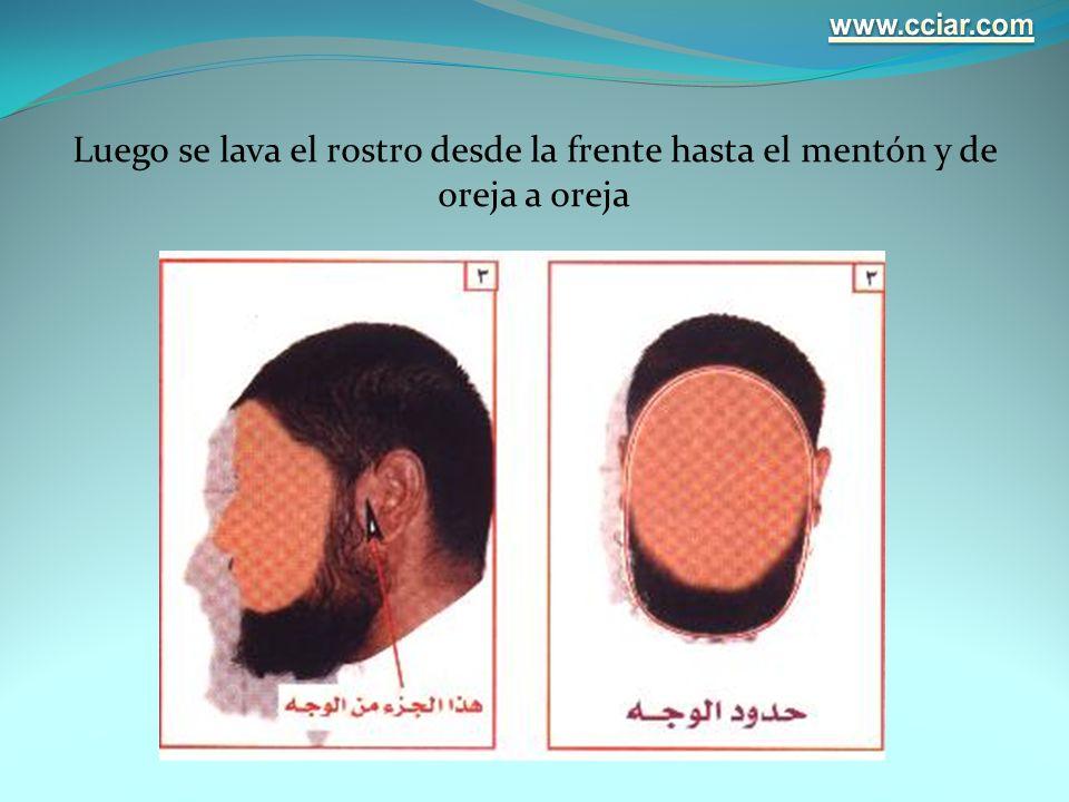 www.cciar.com Luego se lava el rostro desde la frente hasta el mentón y de oreja a oreja