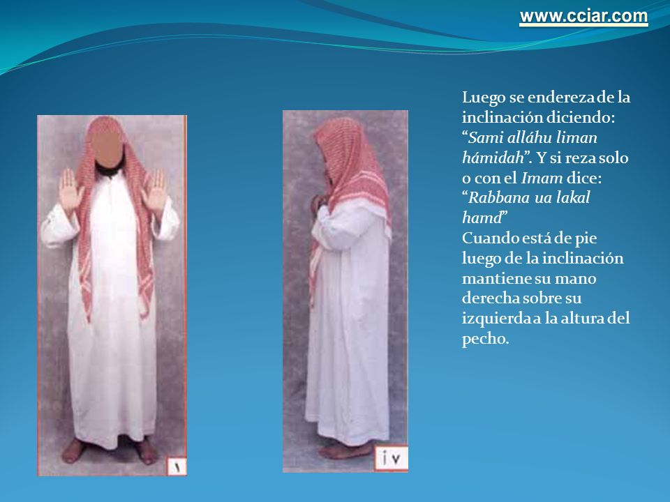 www.cciar.com Luego se endereza de la inclinación diciendo: Sami alláhu liman hámidah . Y si reza solo o con el Imam dice: Rabbana ua lakal hamd