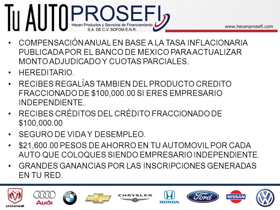 COMPENSACIÓN ANUAL EN BASE A LA TASA INFLACIONARIA PUBLICADA POR EL BANCO DE MEXICO PARA ACTUALIZAR MONTO ADJUDICADO Y CUOTAS PARCIALES.