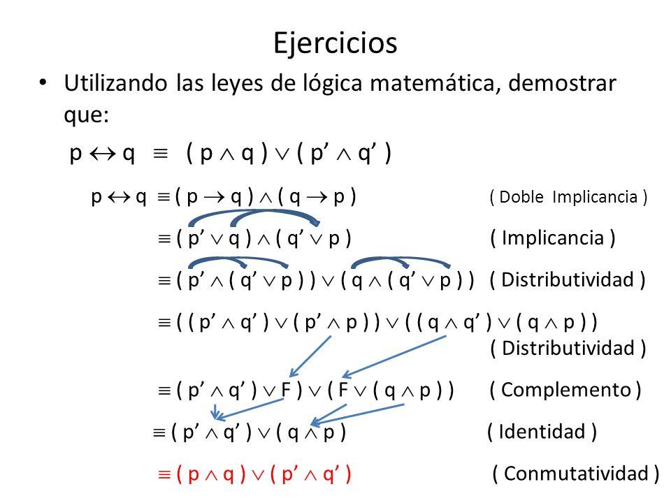 Ejercicios Utilizando las leyes de lógica matemática, demostrar que: