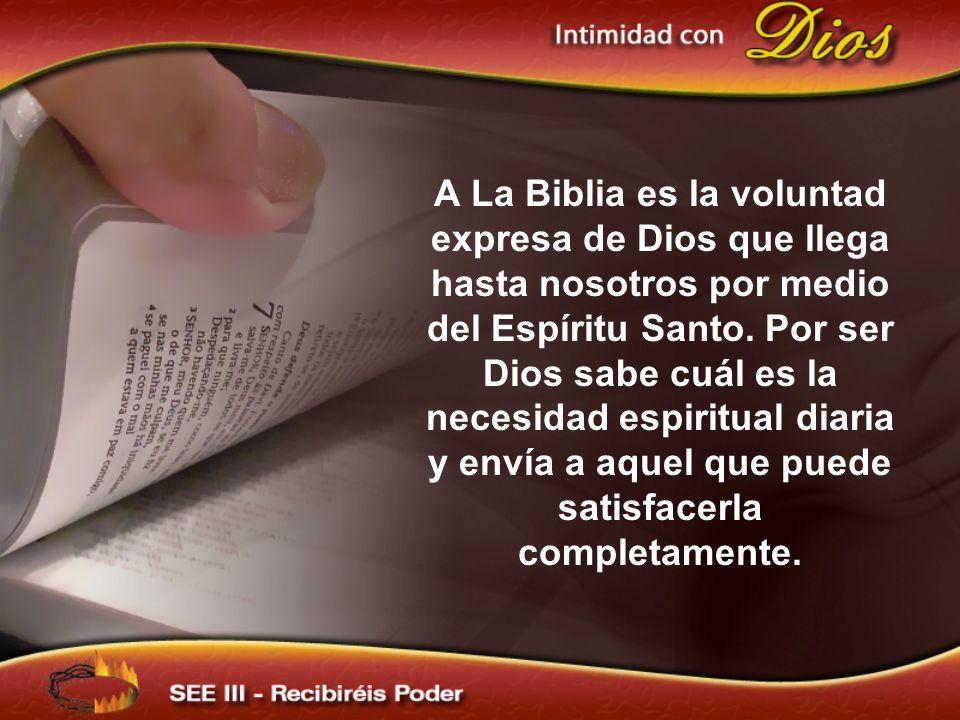 A La Biblia es la voluntad expresa de Dios que llega hasta nosotros por medio del Espíritu Santo. Por ser Dios sabe cuál es la necesidad espiritual diaria y envía a aquel que puede satisfacerla completamente.