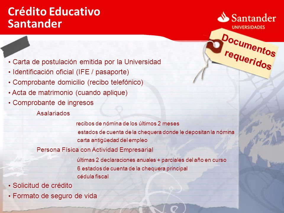 Crédito Educativo Santander Documentos requeridos