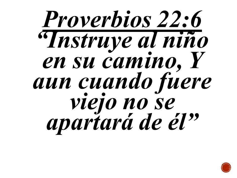 Proverbios 22:6 Instruye al niño en su camino, Y aun cuando fuere viejo no se apartará de él