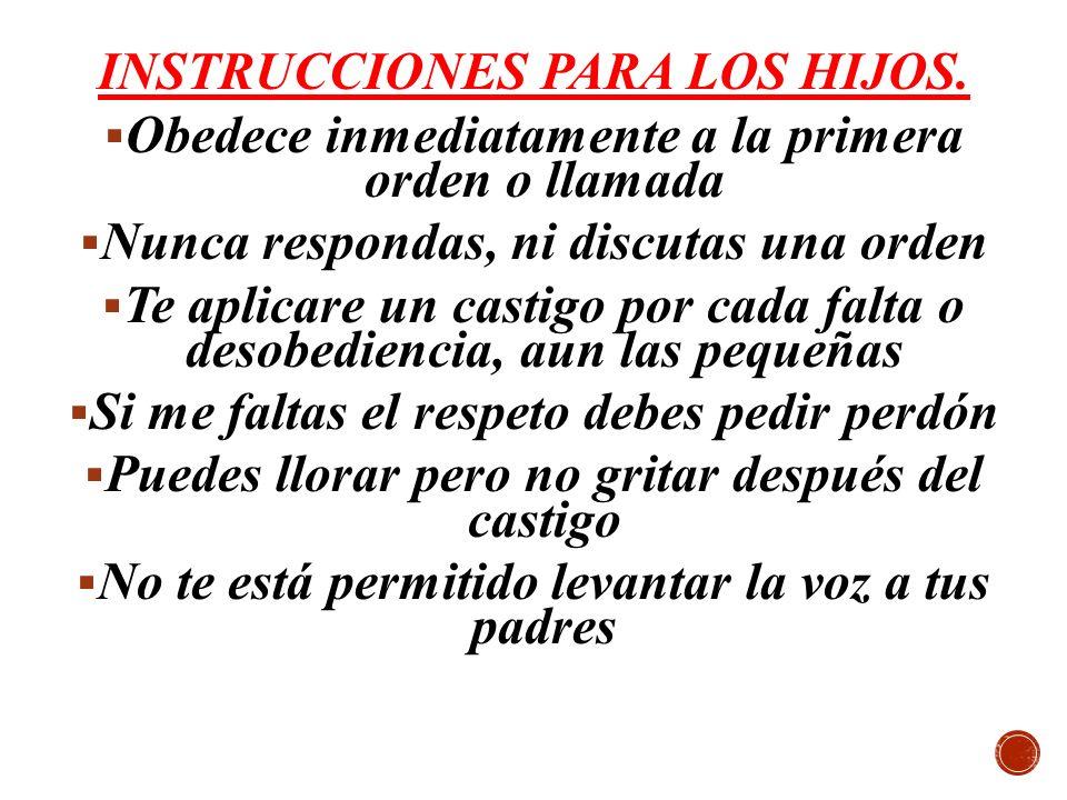 INSTRUCCIONES PARA LOS HIJOS.