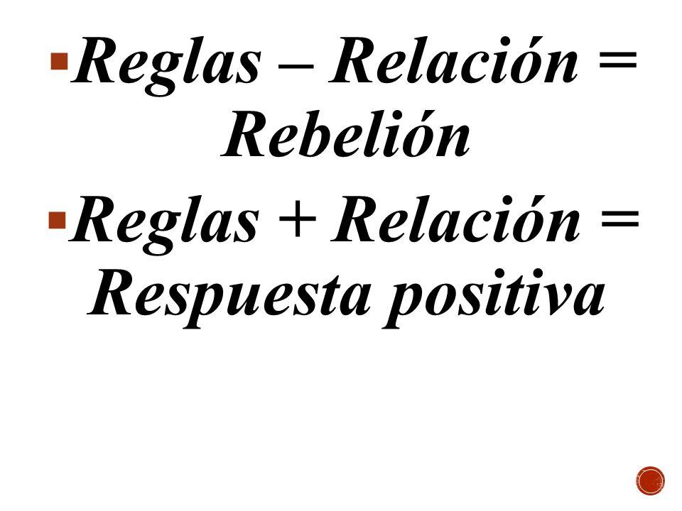 Reglas – Relación = Rebelión