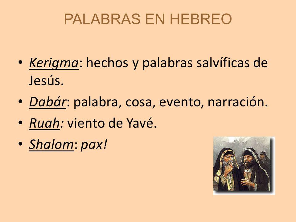PALABRAS EN HEBREO Kerigma: hechos y palabras salvíficas de Jesús. Dabár: palabra, cosa, evento, narración.