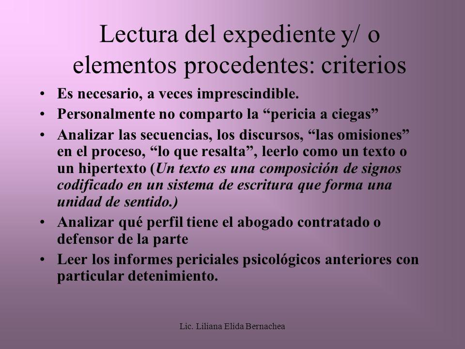 Lectura del expediente y/ o elementos procedentes: criterios