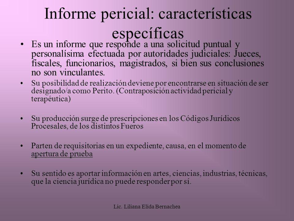 Informe pericial: características específicas