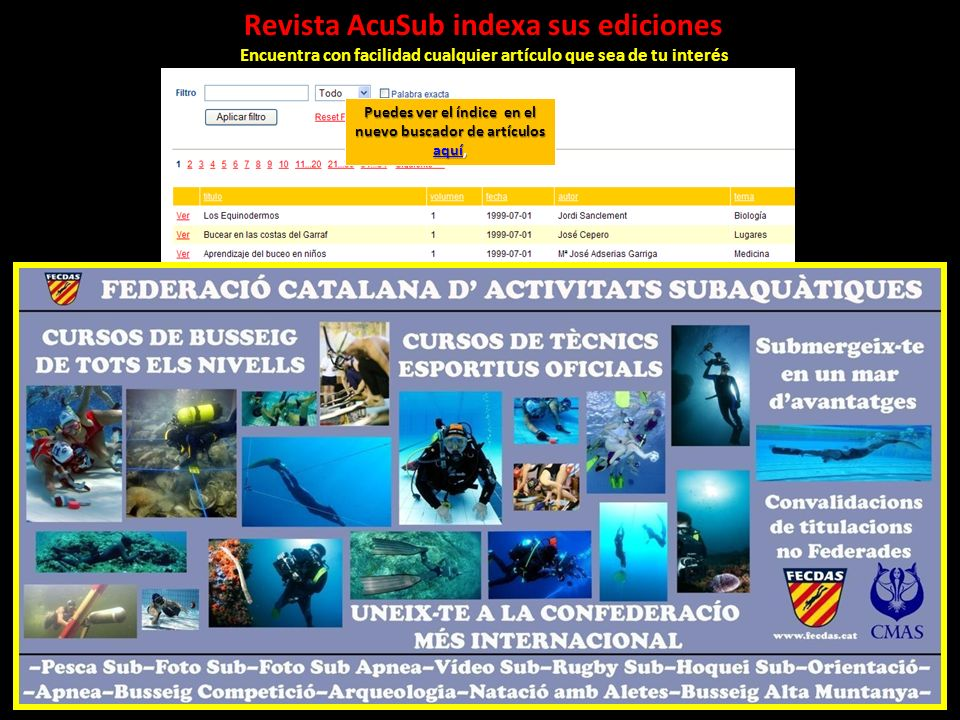 Revista AcuSub indexa sus ediciones