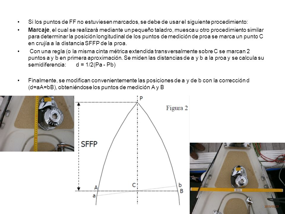 Si los puntos de FF no estuviesen marcados, se debe de usar el siguiente procedimiento: