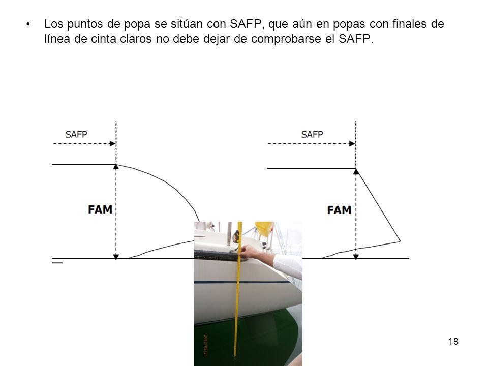Los puntos de popa se sitúan con SAFP, que aún en popas con finales de línea de cinta claros no debe dejar de comprobarse el SAFP.