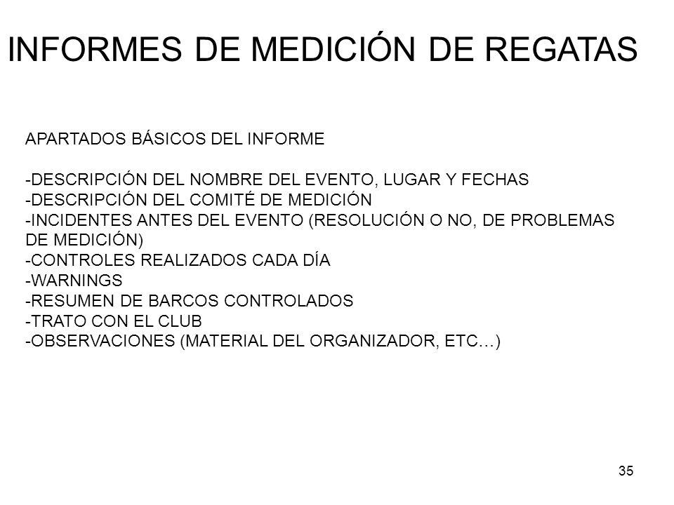 INFORMES DE MEDICIÓN DE REGATAS