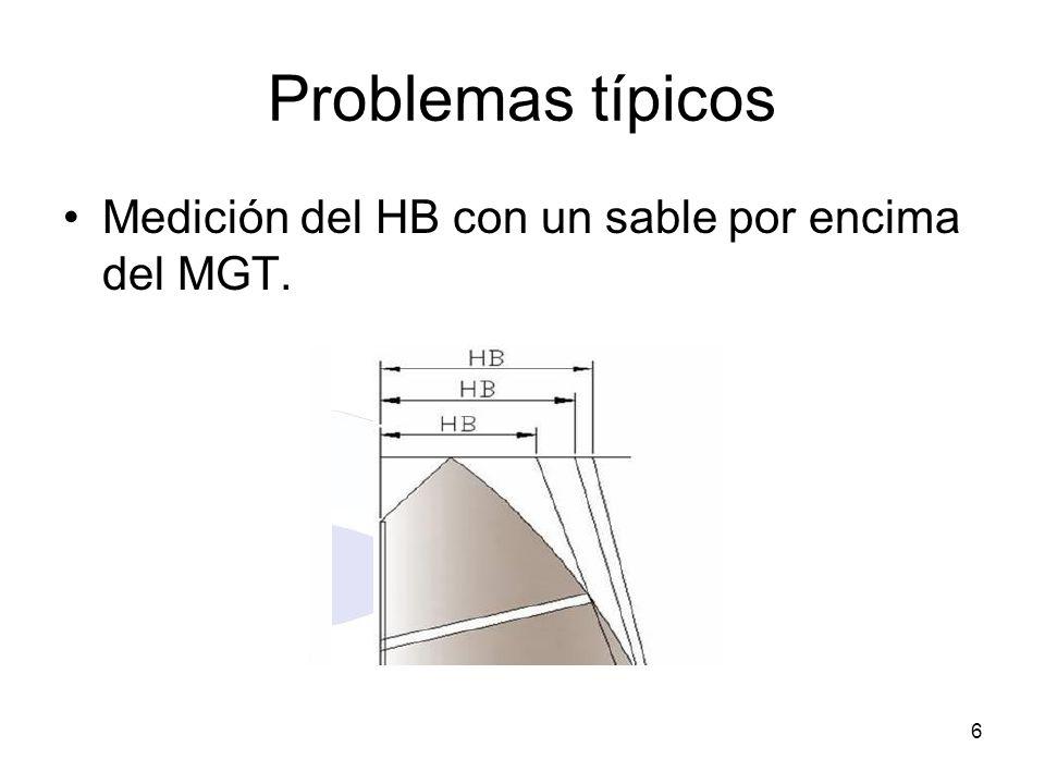 Problemas típicos Medición del HB con un sable por encima del MGT.