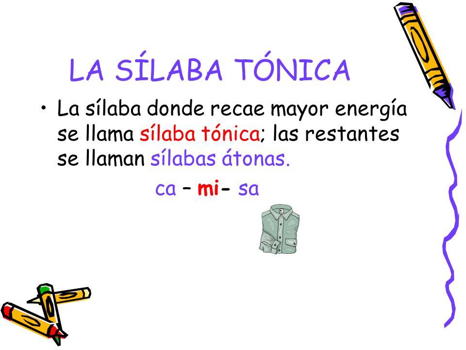 LA SÍLABA TÓNICA La sílaba donde recae mayor energía se llama sílaba tónica; las restantes se llaman sílabas átonas.