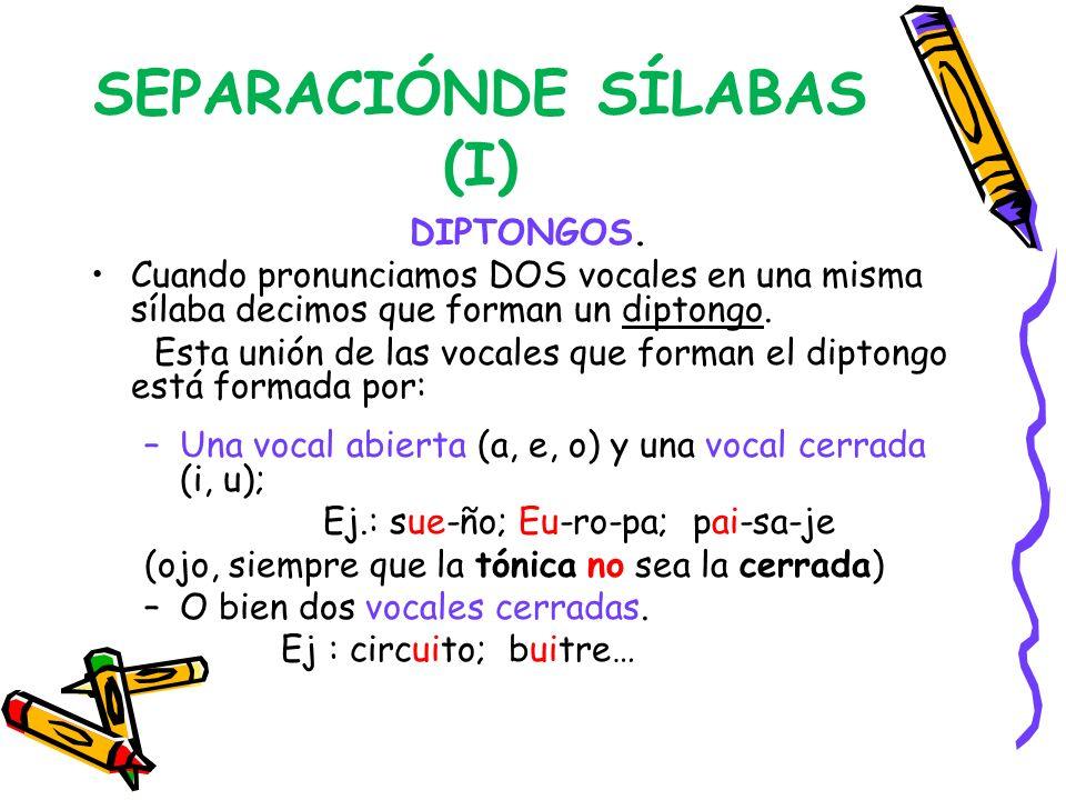 SEPARACIÓNDE SÍLABAS (I)