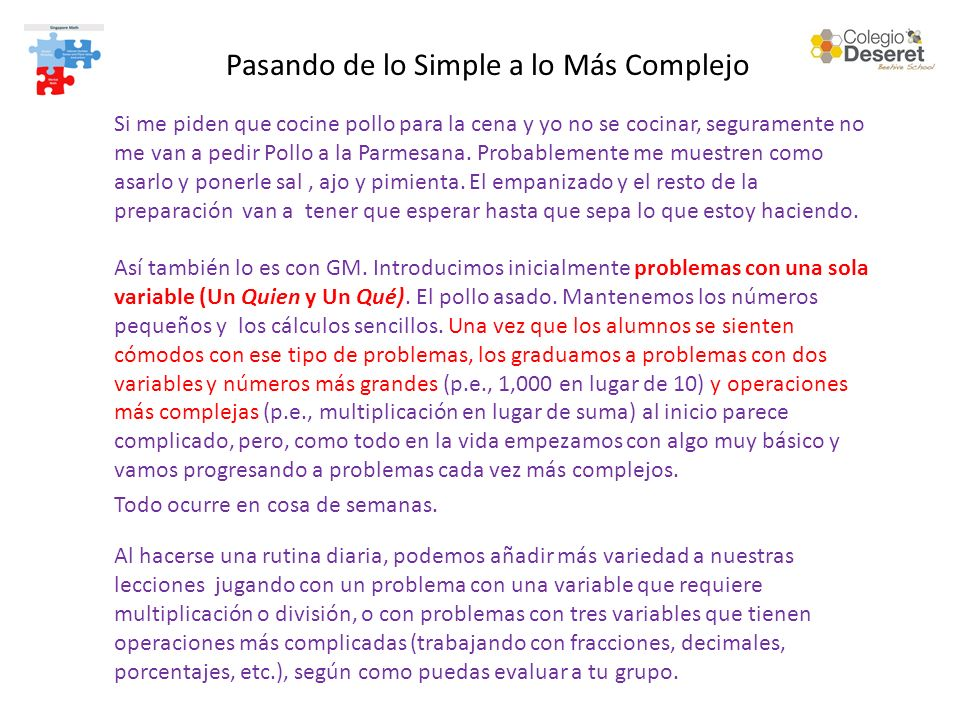 Pasando de lo Simple a lo Más Complejo