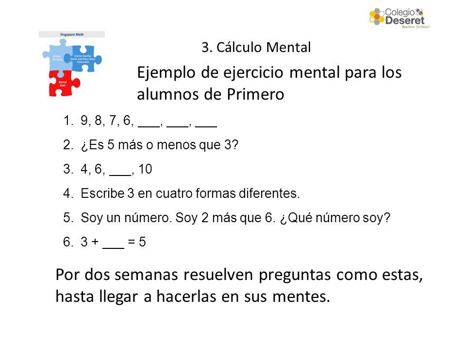 Ejemplo de ejercicio mental para los alumnos de Primero