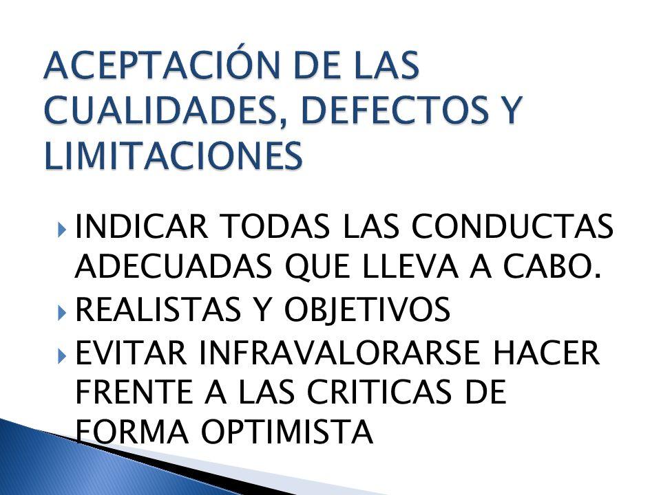 ACEPTACIÓN DE LAS CUALIDADES, DEFECTOS Y LIMITACIONES