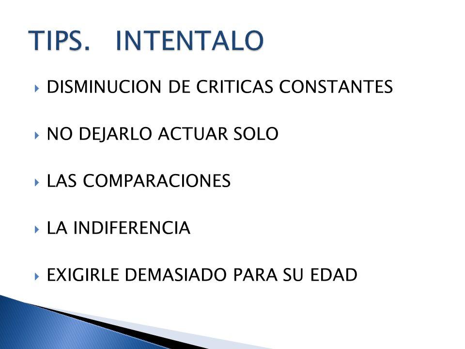 TIPS. INTENTALO DISMINUCION DE CRITICAS CONSTANTES